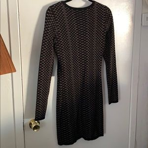 Express Dresses - Sweater dress black with gold print